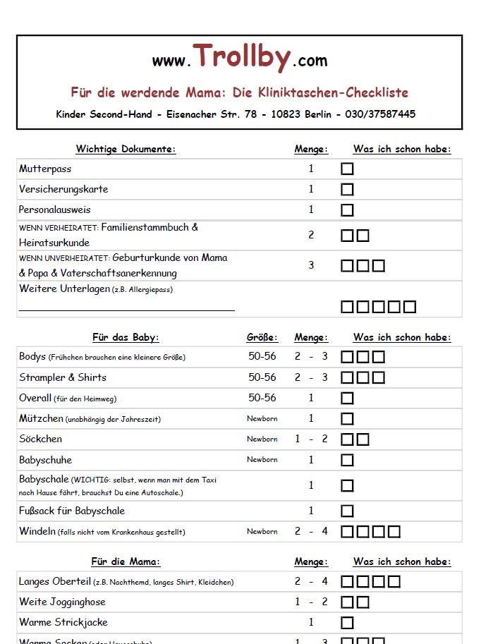 Kliniktaschen-Checkliste